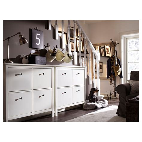 IKEA HEMNES White Shoe cabinet with 4 compartments ...