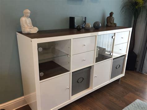 Ikea kallax hack using vinyl adhesive flooring, ikea glass ...