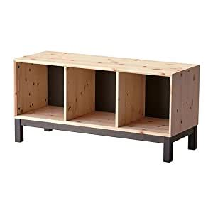 IKEA NORNAS   Bench with storage compartments, pine, grey ...