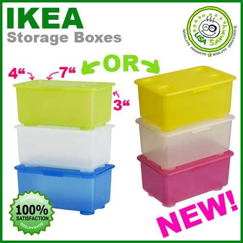 IKEA STORAGE BOXES Container Cases Plastic x3 W LIDs | eBay