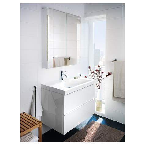 IKEA   STORJORM Mirror cabinet w/2 doors & light white ...