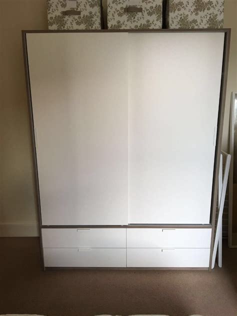 IKEA TRYSIL Wardrobe w sliding doors/4 drawers, white ...
