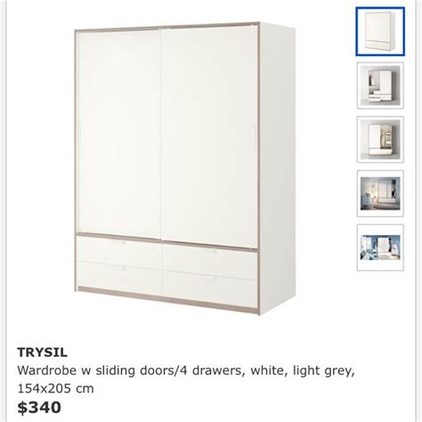 IKEA TRYSIL Wardrobe with sliding doors/4 drawers, white ...