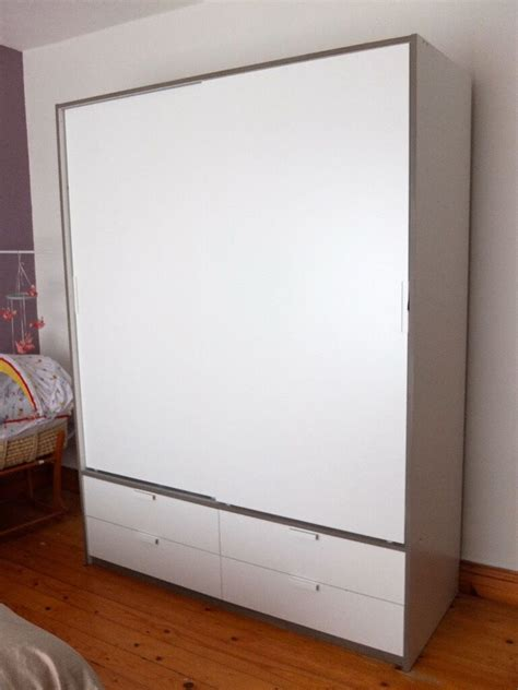 IKEA TRYSIL wardrobe with sliding doors/4 drawers  white ...