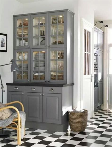 IKEA vitrine keukenkast | Kitchen | Grey kitchen designs ...