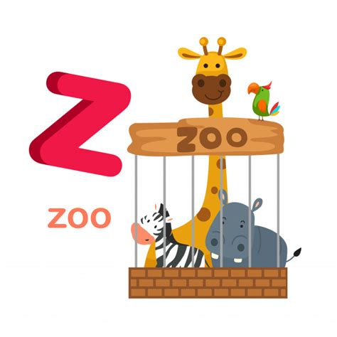 Ilustração isolado alfabeto letra z zoo   Vetor Premium