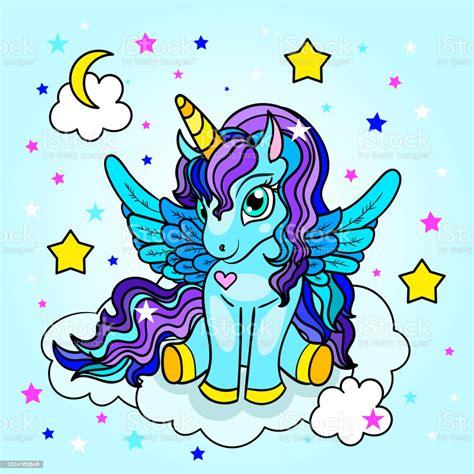 Ilustración de Bonita Dulce Dibujos Animados Unicornio En ...
