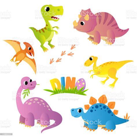 Ilustración de Conjunto De Dinosaurios De Dibujos Animados ...