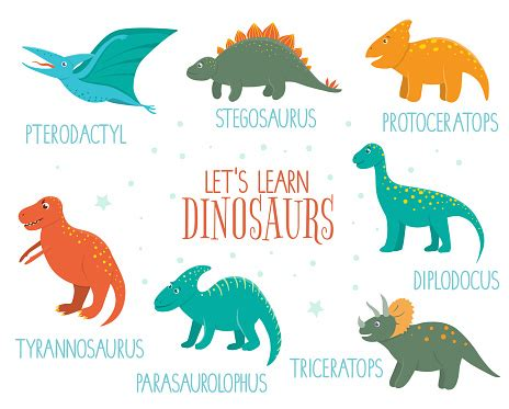 Ilustración de Conjunto Vectorial De Dinosaurios Lindos ...