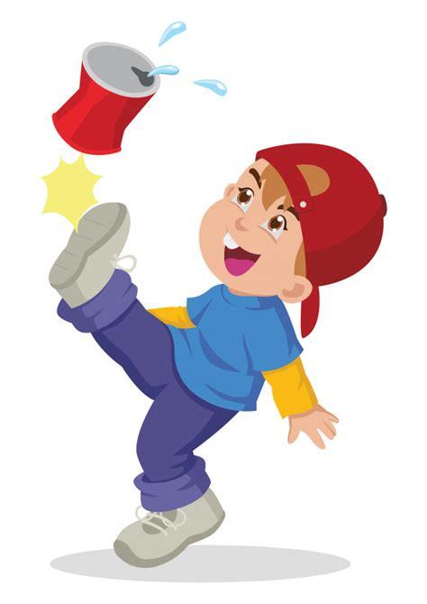 Ilustración de dibujos animados de un niño pateando una ...