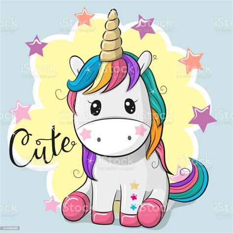 Ilustración de Dibujos Animados Unicornio Aislado Sobre Un ...