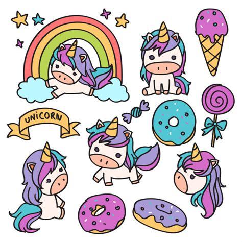 Ilustración de doodle de dibujos animados de unicornio ...