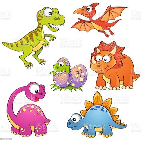Ilustración de Juego De Dinosaurios De Dibujos Animados ...