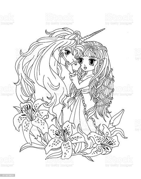 Ilustración de Página Para Colorear Princesa Y El ...