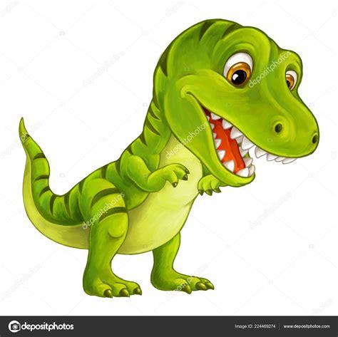 Ilustración Dinosaurio Feliz Divertido Tiranosaurio ...
