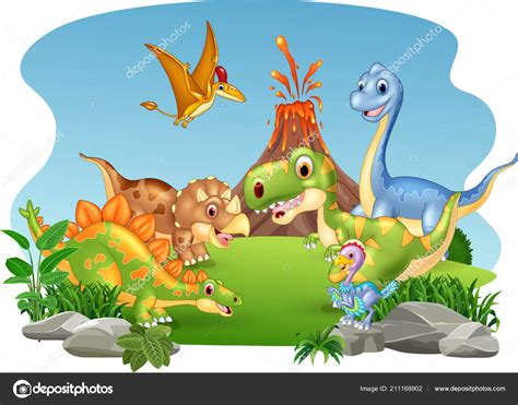 Ilustración Vectorial Dibujos Animados Dinosaurios Felices ...