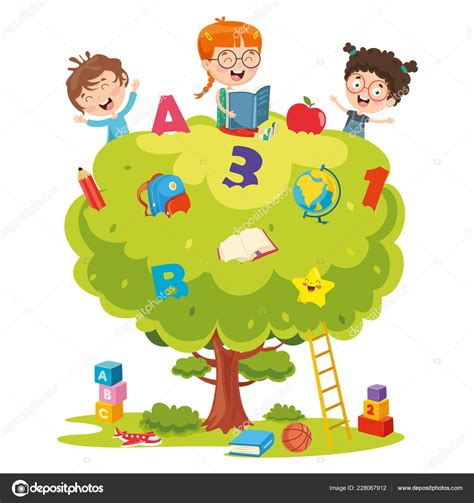 Ilustración Vectorial Niños Estudiando Árbol — Archivo ...