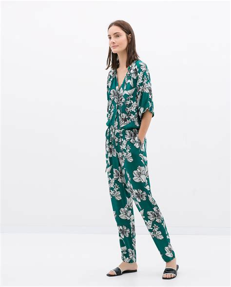Image 1 of LONG PRINTED JUMPSUIT from Zara  With images ...