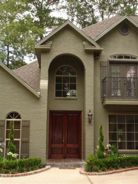 Image result for green painted houses | Green exterior ...