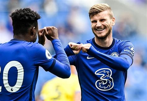 Image : Timo Werner celebrates his unofficial first goal ...