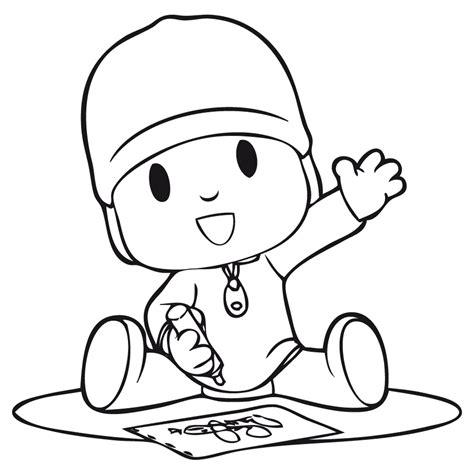 imagen de pocoyo sentado dibujando para colorear imprimir ...