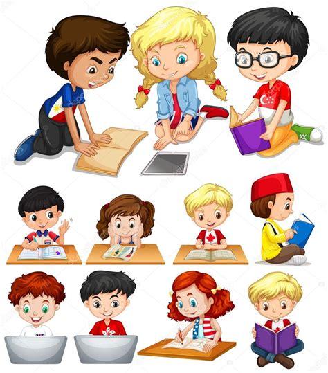 Imágenes: caricaturas niños estudiando | Niños y niñas ...