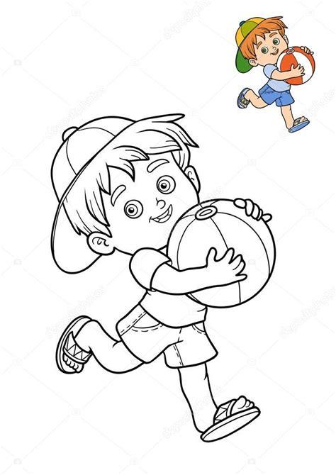 Imágenes: niño con pelota para colorear | Libro para ...