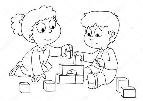 Imágenes: niño jugando para colorear | Niño niño y niña ...