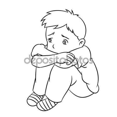 Imágenes: niño triste para colorear | Dibujos animados de ...