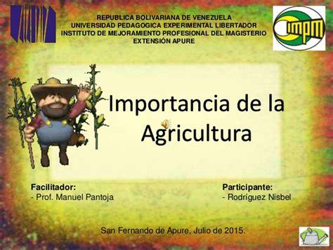 Importancia de agricultura