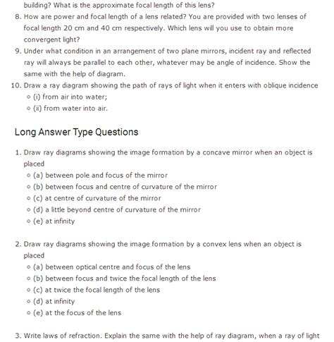 Important questions class 10 chapter 10 Light   Reflection ...