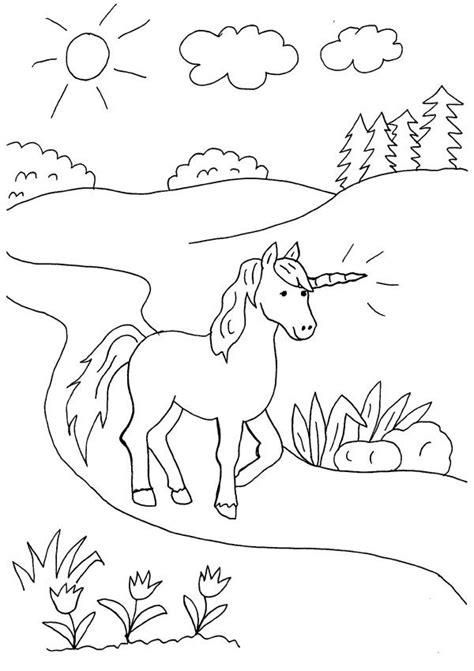 Imprimir: Unicornio caminando: dibujo para colorear e imprimir