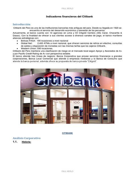 indicadores BANCO CITIBANK.docx | Rendimiento de capital ...