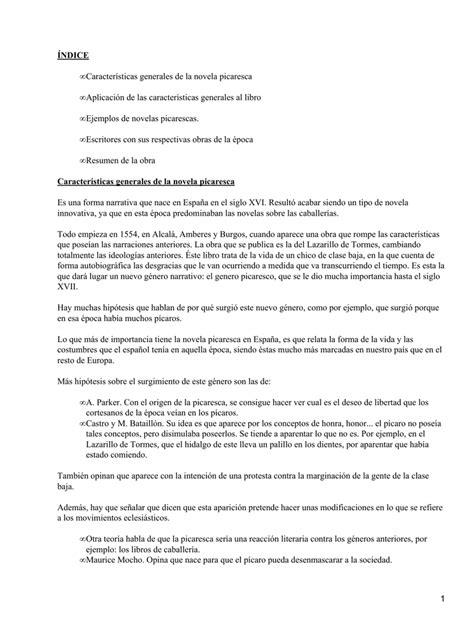 ÍNDICE Características generales de la novela picaresca ...