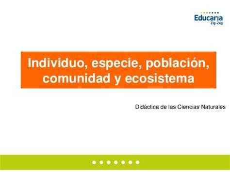 Individuo, especie, población, comunidad y ecosistema