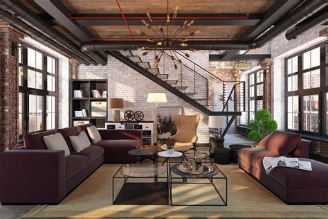 Industrial living room design ideas | ARCHIVIZER com