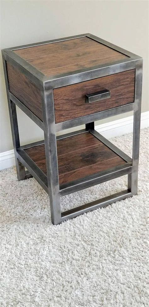 Industrial Reclaimed Wood Nightstand | Industrial bedroom ...