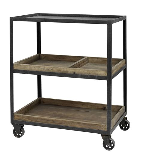 industrial small wooden display trolley on wheels by i ...