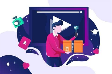 Influencer che registra un nuovo concetto video | Vettore ...