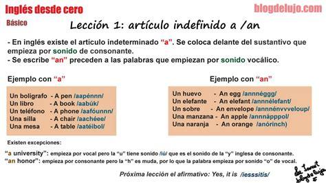 Inglés desde cero y en un minuto. Lección 1   Artículo ...