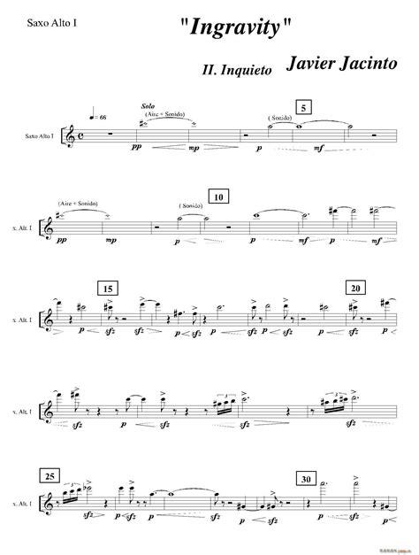 Ingravity(第二乐章)(第一中音萨克斯分谱) 歌谱简谱网