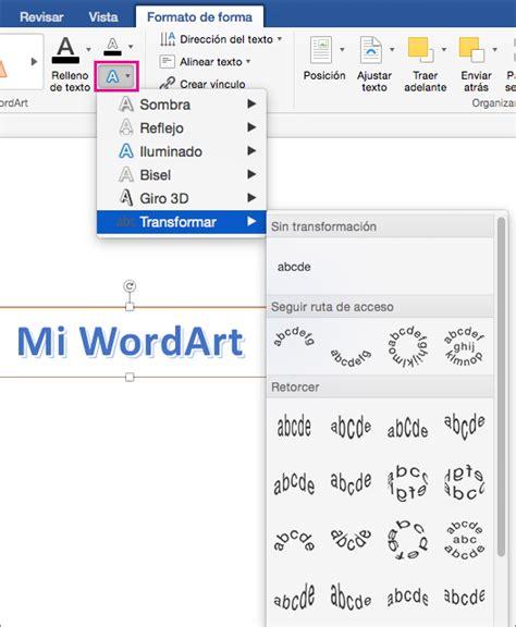 Insertar WordArt en Word 2016 para Mac   Word for Mac