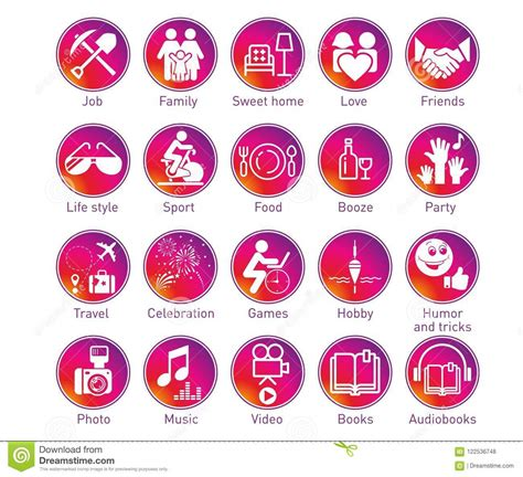 Instagram Stories Circle Icons Set Stock Vector ...