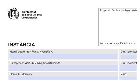 Instancia genérica: Ajuntament de Santa Coloma de Gramenet