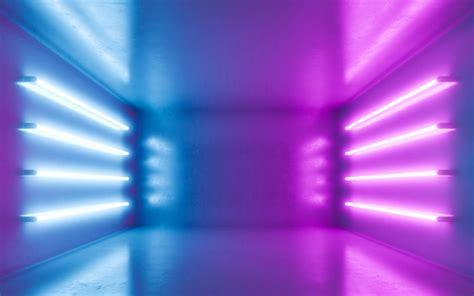 Interior de quarto abstrato para backgrtound com néon azul ...