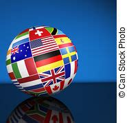 Internacional, globo, banderas, mundo. Concepto, empresa ...