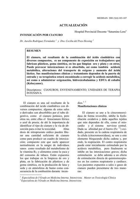 Intoxicación por cianuro