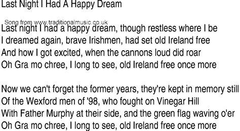 Irish Music, Song and Ballad Lyrics for: Last Night I Had ...