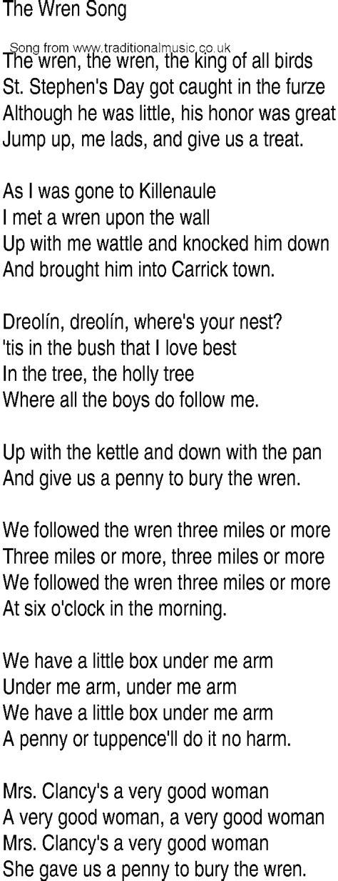 Irish Music, Song and Ballad Lyrics for: Wren Song
