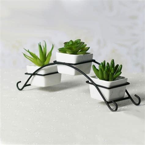Iron stand with ceramic flower pots planters desktop ...
